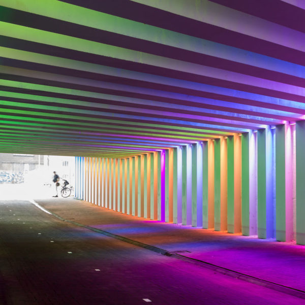 Tunnel with colored led lighting